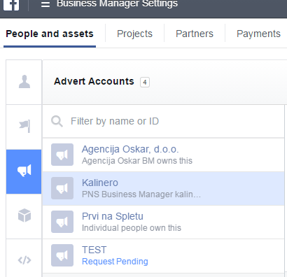 Advert account view v Facebook Business Manager-ju