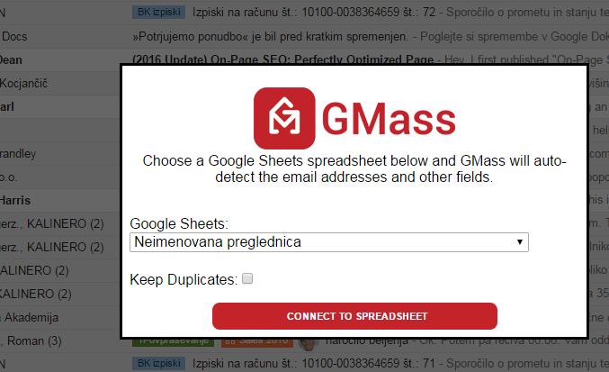 gmass_sporočilo v osebni zavihek